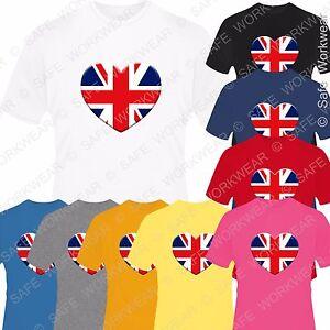 Children Union Jack Heart T Shirt Britain UK Flag D7 kids - Boys & Girls Tops