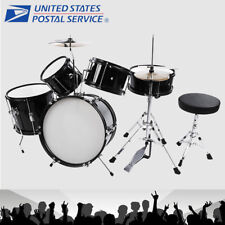 5 Piece Complete Drum Set Cymbals Full Size Kit with Drum Stool Black