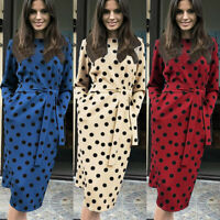 Women Polka Dot Long Sleeve Midi Dress Lace Up Casual Party Club Evening Dresses