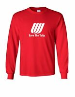United Airlines Save The Tulip White Logo Tee US Mens Red Long Sleeve T-shirt