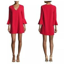 Alice & Olivia Tameika Trumpet sleeve red dress v neck size uk8 ref MK