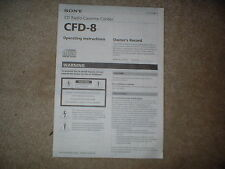 Sony Cd Radio Cassette Cfd-8 Operating Instruction Owners Manual