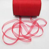 """NEW Christmas hot sale 50 Yards 3/8"""" Edge Sheer Organza Ribbon Craft Satin Red B"""