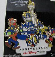 Disney WDW 30th Anniversary Castle Mickey Mouse Pluto Goofy Fab 4 Pin **