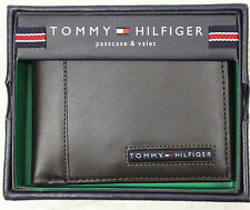 NEW MEN'S TOMMY HILFIGER PREMIUM LEATHER PASSCASE BILLFOLD WALLET BROWN 5675/02
