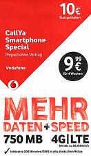 Vodafone CallYa Smartphone Special Prepaid 10€ Handy SIM Karte Call Ya D2 01520