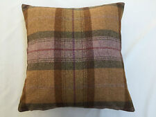 100% Wool Plaid Autumn Gold By Art Of The Loom Cushion Cover 42 x 42cm