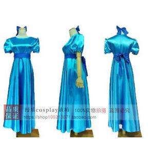 Peter Pan Wendy Darling Blue Cosplay Costume Dress With Headwear