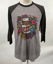 Obey Men's Baseball T-Shirt Beer Garden Grey/Graphite XL NWT Flowers Cigarette