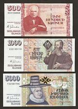 More details for 2001 iceland 500/1000/5000 kronur matching signature uncirculated set