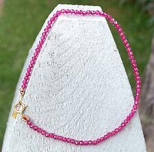 "Pink Sapphire bracelet stack layering beaded gems gemstone strand 7"" 14k gold"