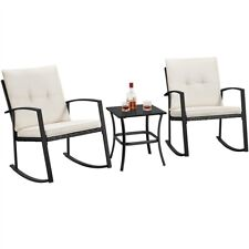 3pcs Rattan Rocking Bistro Set Outdoor Wicker Conversation Set Patio Furniture