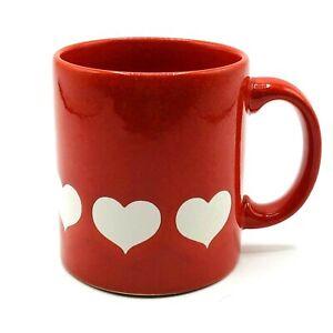 Waechtersbach Hearts White on Red Ceramic Coffee Mug Cup GERMANY Vintage