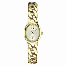 Ladies Seiko Solar Classic Gold Tone Stainless Steel Oval Watch SUP338