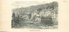 la Vesdre River Verviers Vervî Liège Luik GRAVURE ANTIQUE OLD PRINT 1880