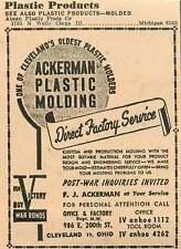 1946 Fj Ackerman Plastic Molding Cleveland Ohio Ad