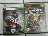 LOT of 2 Tom Clancy Games Xbox and Xbox360 Splinter Cell Ghost Recon