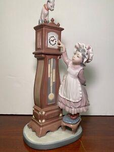 "LLADRO Porcelain Figurine #5347 ""BEDTIME"" Girl W/Grandfather Clock Cat $545 MINT"