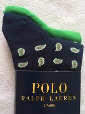 Ralph Lauren Polo 2-Pack Socks~Navy Paisley~Solid Green~Cotton Blend~NWT