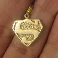 14k Solid Gold Superman Pendant