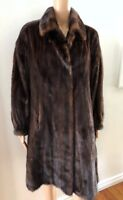 GORGEOUS DARK BROWN 3/4  MINK FUR COAT SIZE M-L
