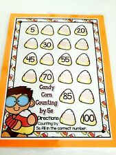 Autumn Candy Corn Counting by 5s Dry Erase Laminated Full Sheet Mat Homeschool