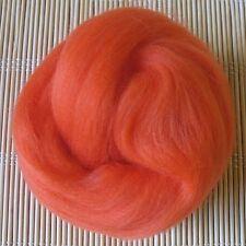 100g Merino Wool Tops 64's Dyed Fibres - Orange - Felt Making and Spinning