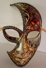 MAR7 MOON MASK, HANDMADE IN VENICE, PAPIER MACHE, HANDPAINTED RED/COPPER/GOLD