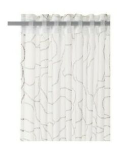 "IKEA Ferle Curtains -1 Pair- 2 Panels 57"" x 98"" White w/ Grey Stripes 002.378.80"