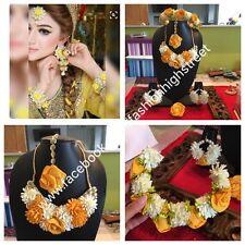 Indian Bridal Ladies Sangeet Flower Necklace, Earrings, Fingerring & Tikka Set