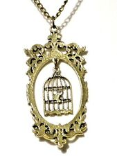 STEAMPUNK gold/brass metal BIRD CAGE SILHOUETTE CAMEO necklace victorian Z5