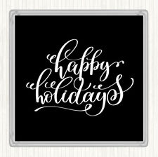 Black White Christmas Happy Holidays Quote Drinks Mat Coaster