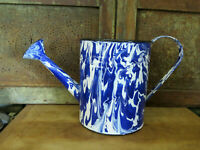 Blue White Swirl Graniteware Metal Enamelware Vintage Style Watering Can