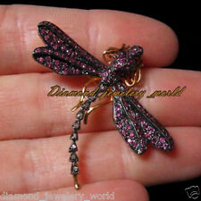 Estate Victorian 0.38cts Rose Cut Diamond Ruby Jewelry Silver Dragon Fly Brooch