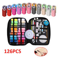 126Pc Portable Travel Home Sewing Kit Case Needle Thread Tape Scissor Button Set