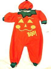 NEW Infant 3-6 Months Halloween Pumpkin One Piece Costume Pajama with Hat Orange