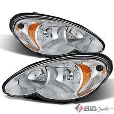For 06-10 PT Cruiser Chrome Housing Replacement Headlights Headlamps LH+RH Set