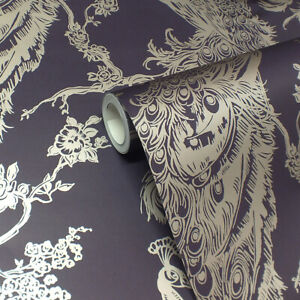 Plum & Gold, Peacock Design, Smooth Finish, Statement Feature Wallpaper