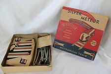 Wind Up Silver Meteor Train with Track & Original Box, Vintage Tin Litho Toy 50s