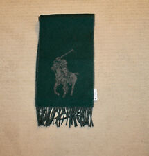NEW Polo Ralph Lauren Big Pony Green Gray Wool Blend Winter Scarf