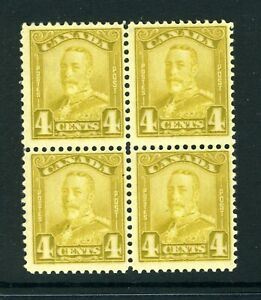 CANADA Scott 152 - NH - 4¢ Bistre King George V Scroll Issue BLK of 4 (.019)