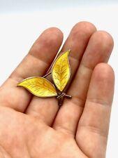 David Andersen enamel leaf brooch - danish - sterling silver - slight damage