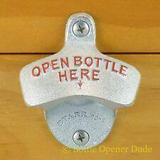 OPEN BOTTLE HERE Combo Starr X Wall Mount Bottle Opener / Metal Cap Catcher Set