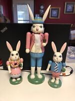 "Vintage Hand-painted EASTER BUNNY NUTCRACKER Set of 3. 13""&8"""