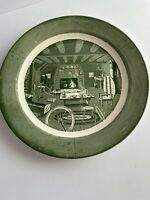 """Colonial Homestead by Royal 12"""" serving platter 1950 green"""