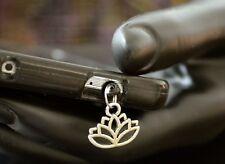 New Silver Lotus Flower Yoga Charm Cell Phone Smart Phone Dust Plug