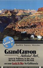 """Vintage Travel Poster CANVAS PRINT Grand Canyon Horse riding 24""""X18"""""""