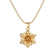 "Women's Flower Pendant Necklace Gift 18K Yellow Gold Filled 18"" chain"