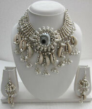 Necklace Bib Choker Earring Shell Tassel Mirror Boho Gypsy Kuchi Hippy