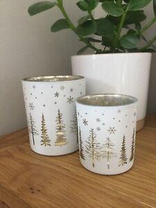 Heaven Sends Christmas winter scene trees snowflakes tea light holder two sizes